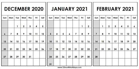 month calendar december  january february