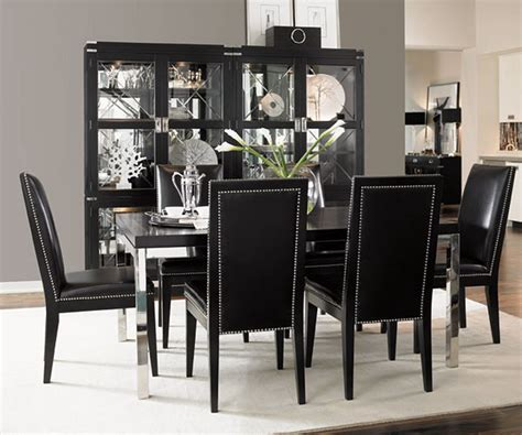 simple dining room  black table  black chairs