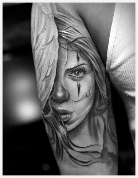 Femaleclowntattoos | girl clown tattoo desing on arm