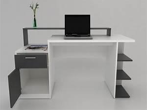 Bureau Blanc Avec Rangement : bureau zacharie 1 tiroir 1 porte blanc gris ~ Teatrodelosmanantiales.com Idées de Décoration