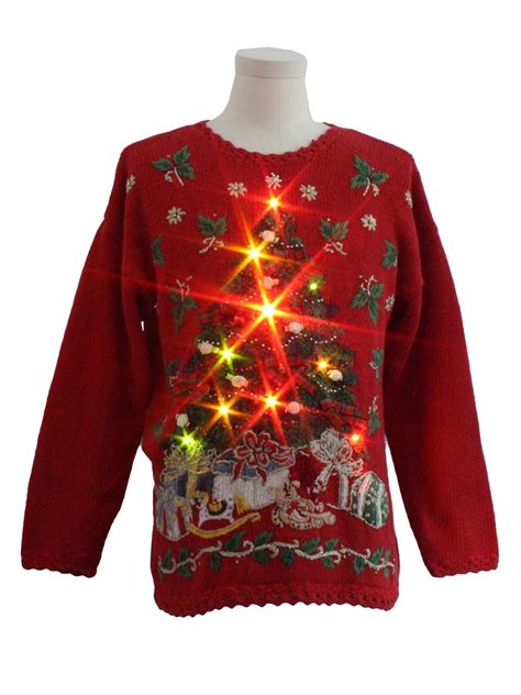 light up ugly christmas sweater the tree isnt the only thing getting lit heirloom collectibles unisex lightup sweater ugliest sweaters