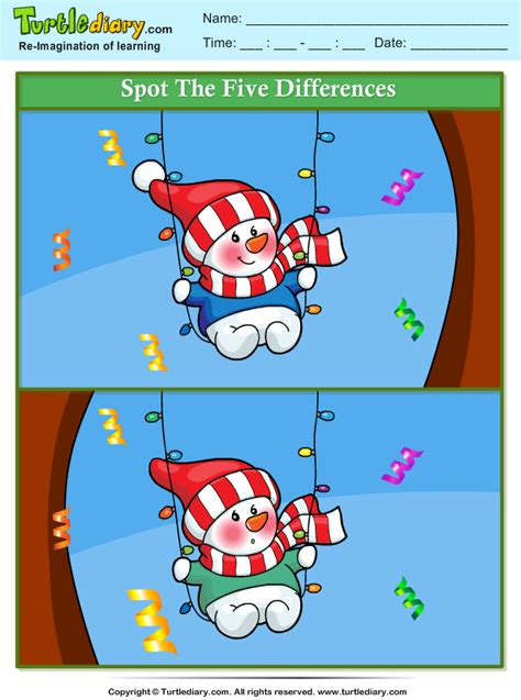 spot  differences snowman  swing worksheet turtle diary