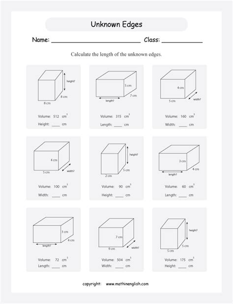 find the unknown edges height length or width given the volume of these cuboids excellent