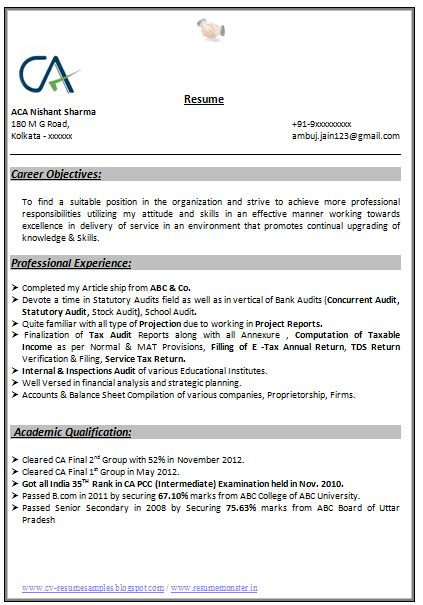 Resume Format For An Accountant by Professional Curriculum Vitae Resume Template For All