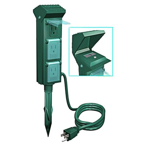outdoor light bulb timer outdoor power outlet yard stake 6 grounded outlets