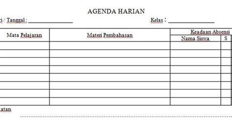 dokumen contoh format agenda harian kelas  jenjang