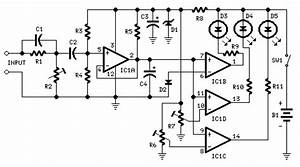 three level audio power indicator circuit diagram and With peak level indicator