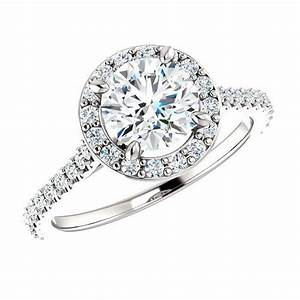 18k white gold 100 carat round diamond halo engagement With wedding rings black friday deals