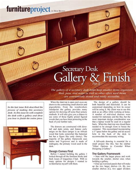 secretary desk plans woodarchivist