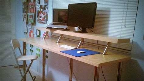pipe au bureau build a diy wide adjustable height ikea standing desk on