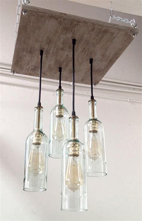 recycled wine bottle chandelier bigdiyideas