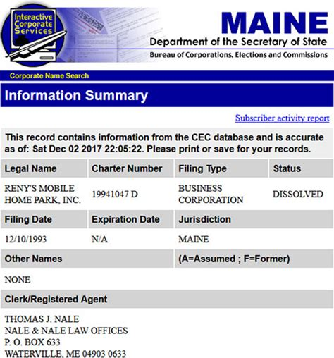 Maine Secretary of State Business Search