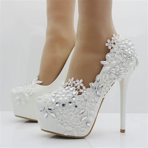 Wedding High Heels by Heels Fashion White Lace Flower Rhinestone Pumps
