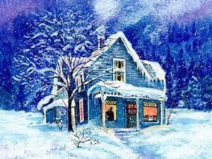 Snowed in houses wallpaper