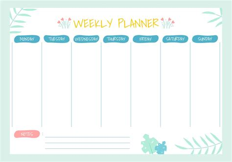 weekly planner  vector art   downloads
