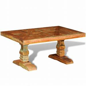 Vidaxlcouk reclaimed solid wood coffee table antique style for Antique solid wood coffee table
