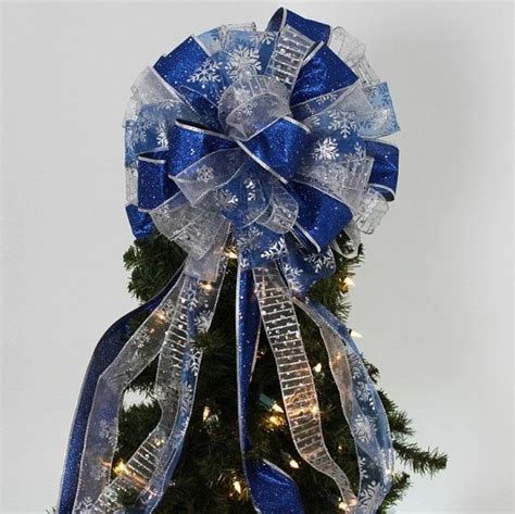 royal blue silver snowflake christmas tree topper bow