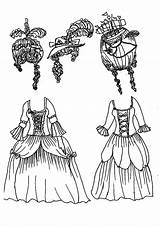 Coloring Pages Doll Marie French Antionette 1789 Coloringsky Fun sketch template