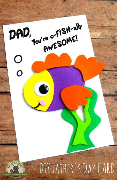 diy s day fish card with printable template 588 | DIY Fathers Day Card Craft