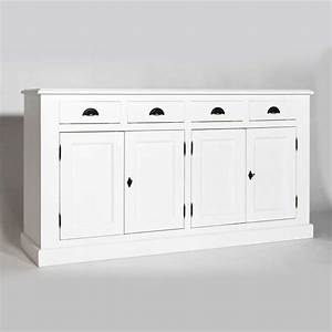 enfilade blanche 4 portes 4 tiroirs en bois massif blanc With meuble cuisine style campagne 6 meuble tv pin massif blanc