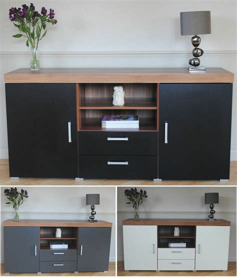 Furniture Cabinets With Doors by Large 2 Door 2 Drawer Sideboard Black White Grey Cupboard
