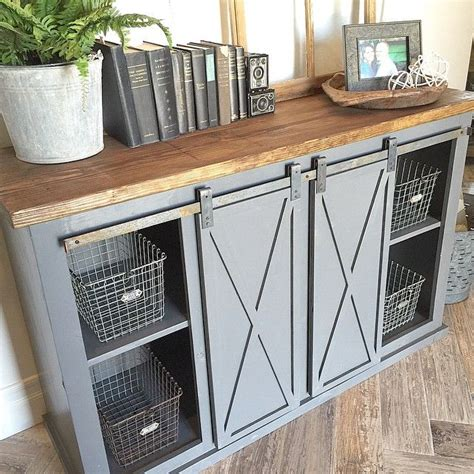 barn door cabinet hardware close up of the gray sliding barn door console table for