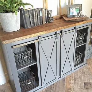 close up of the gray sliding barn door console table for With barn door tables for sale
