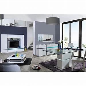 Meuble Laqué Blanc : salon ensemble meuble tv blanc laque led comforium ~ Melissatoandfro.com Idées de Décoration