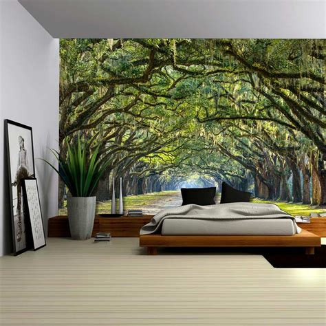 long pathway   arch tree covered forest wall mural