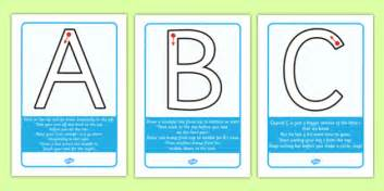 letter formation rhyme display posters uppercase letter