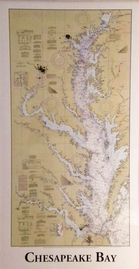 Vintage Brass Lamp Finials by Nautical Map Of The Complete Chesapeake Bay Skipjack