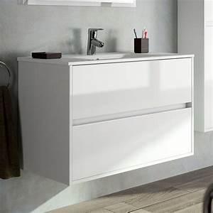 meuble salle de bain 90 cm 2 tiroirsvasque porcelaine With meuble salle de bain 90 cm blanc