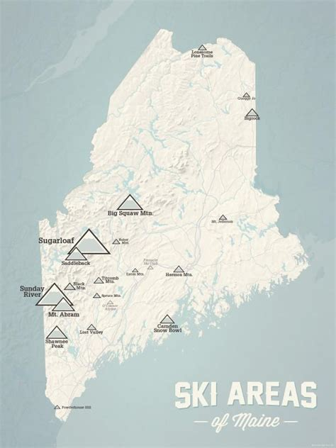 ski maine map resorts poster maps