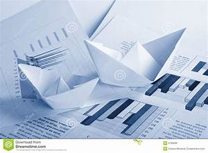 Business Concept  Paper Boat And Documents Stock Photo