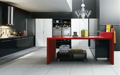 Black And Red Kitchen-home Decorating Ideas
