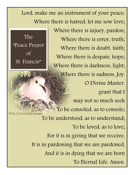 peace prayer of st francis seminary gal