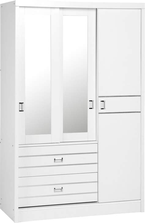 White Mirrored Wardrobe by White Silver 3 Door 2 Drawer Sliding Mirrored
