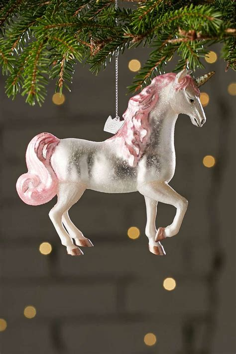 glitter unicorn ornament trees urban outfitters and