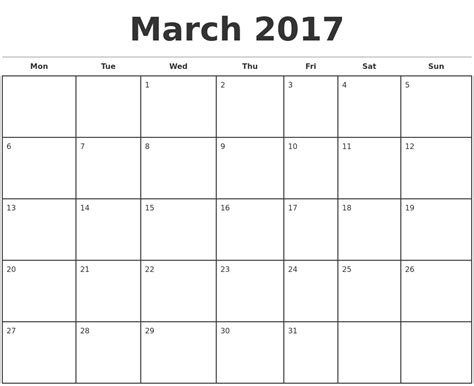 monthly calendar template 2017 march 2017 monthly calendar template