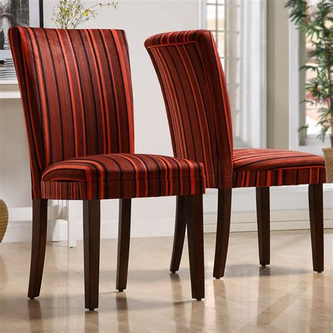 Fabric To Cover Dining Room Chairs by Homelegance Royal Striped Design Fabric Parson Chairs