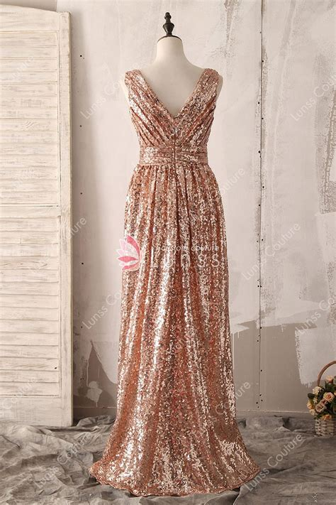 breathtaking fashion gold sequin sleeveless  neck long evening bridesmaid dress lunss couture