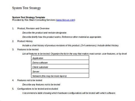 test strategy templates  sample  format