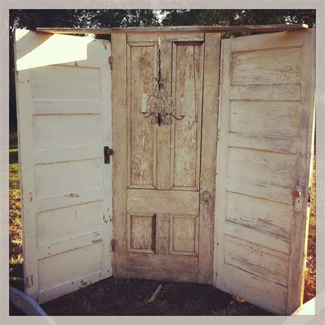 Vintage Rustic Three Door Ceremony Backdrop With