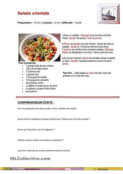 liste de recette de cuisine on apprend le français recette de cuisine salade orientale