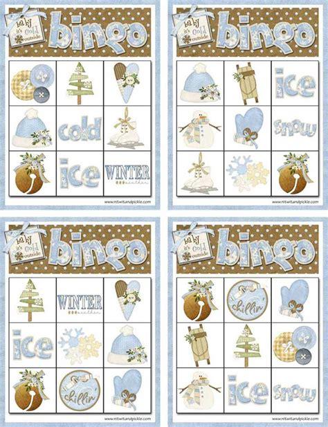 winter bingo card set  northpolechristmascom
