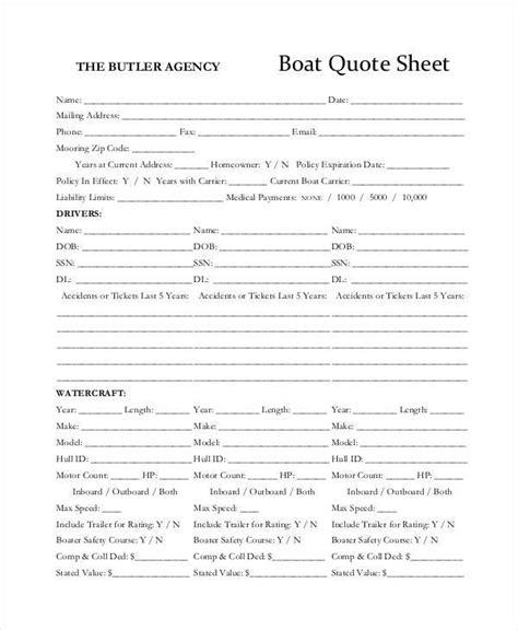Boat Insurance Quote Sheet 39 sheet sles templates sle templates