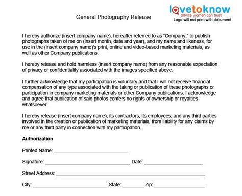 general photography release form photography jobs