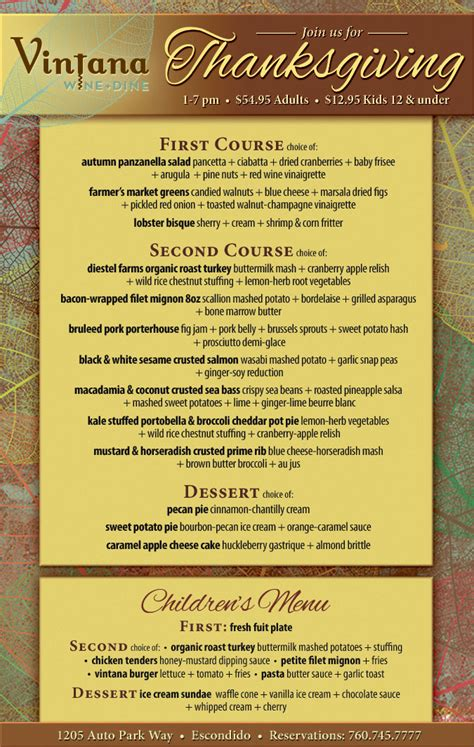 Kitchen Kabaret Thanksgiving Menu by Vintana S Thanksgiving Dinner Cohn Restaurant