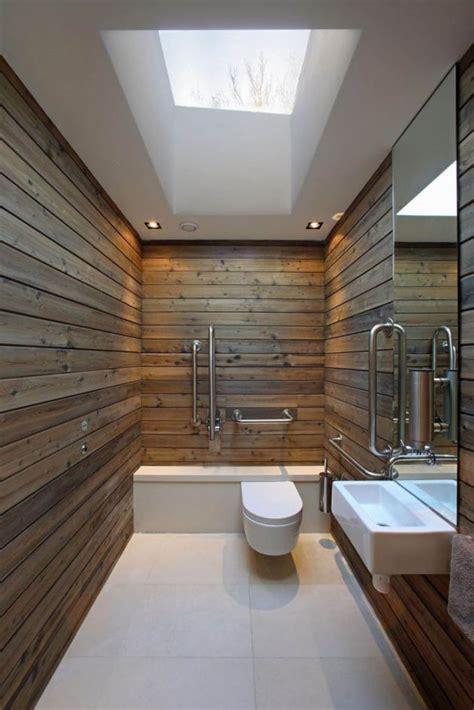 rustic plank walls   warm    bathroom