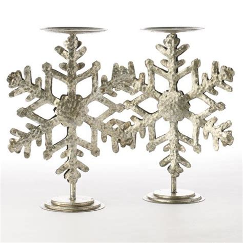 snowflake candle holders silver metal snowflake candle holders and